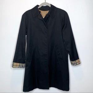 Vintage Burberry Nova Check Black Trench Coat